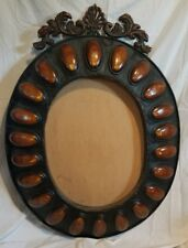 Vintage Gothic Metal Bronze Black Oval Picture Mirror Frame 3D Large 42 x 31