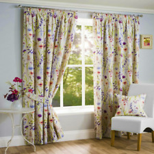 Hampshire Wild Flower Floral Pencil Pleat Top Cream Curtains 46 X 90