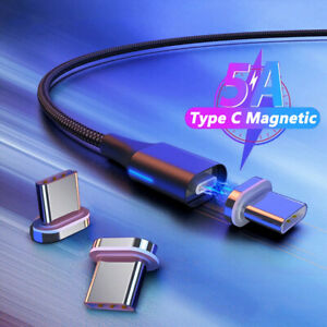Magnetic Type C Charging Cable 5A Super Fast Charge Data Cord For Samsung Xiaomi