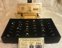 {☆}✔{☆} 25Pc.MIXED Size & Style RINGS+MINT GOLD$100K Banknote W/COA~