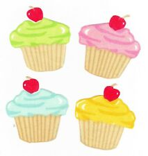 4 Colorful cupcakes cherry on top set  fabric applique iron on