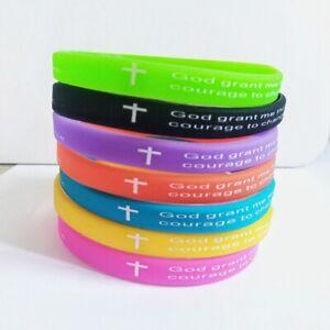 50 7mm Religious God Wristbands Jesus Cross Christian for children women