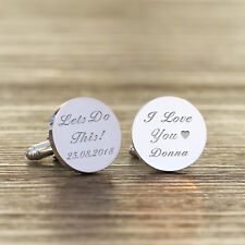 Personalised Silver Finish Cufflinks - Brides Wedding Gift For Groom Engraved