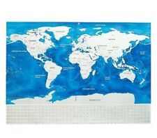 Scratch Off World Map Poster with US States Outlined and Country Flags