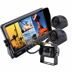 """Backup Cameras System Waterproof Side View Camera + 7"""" Quad TFT-LCD Monitor Kit"""