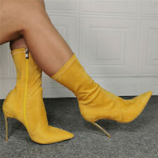 Womens Sexy Mid Calf Stretch Socks Boots Pointed Toe Heels Stilettos Prom Shoes