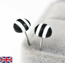 Women's Black and White Striped Stud Earring's - UK Free P&P