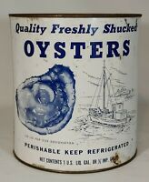Vintage JR Write Quality Freshly Shucked Oysters 1 Gal Can w/ Lid Baltimore, MD