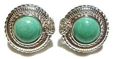 "3/4"" JUDITH RIPKA HEAVY STERLING SILVER TURQUOISE HEART CZ ROUND EARRINGS"