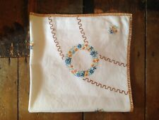 Vintage boho 50s french look cream blue gold floral hand embroidered table cloth