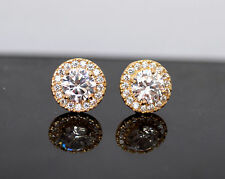 14K Solid Yellow Gold Created Diamond Halo White Round Cut Stud Earrings 1.50TCW