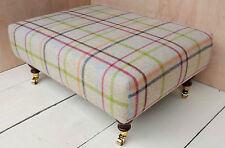 New Designer Footstool in an 100% Wool Tartan Fabric. Choice of Legs & Fabrics!