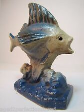 Antique Cast Iron Flying Fish Bookend Doorstop old paint ornate high relief dtls