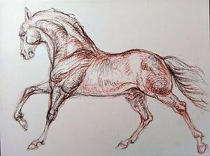 Original drawing on paper Friesian Horse running,equestrian equine horse art