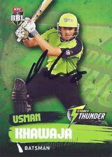 ✺Signed✺ 2015 2016 SYDNEY THUNDER Cricket Card USMAN KHAWAJA Big Bash League