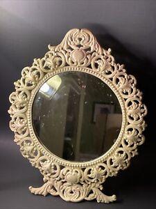 Vintage IRON ART JM29 Ornate Art Nouveau Cast Iron Vanity Tabletop Mirror Frame