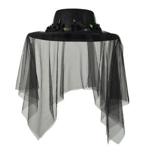Gothic Women's Black Hat With Veil Black Spanish Costume Hat With Floral