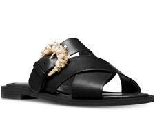 NIB Size 6.5 MICHAEL KORS Frieda Leather Rhinestone Slide Sandal $130 FM