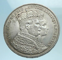 1861 PRUSSIA KINGDOM German States WILHELM I and Queen Silver Thaler Coin i78248