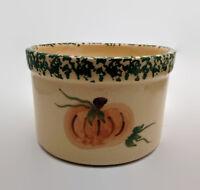 Alpine Pottery Roseville Ohio Spongeware Pumpkin Crackle Glaze Crock 1997
