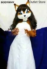 Fursuit Miss Long Fur Fox Dog Mascot Costume Dress Outfits Carnival Cosplay