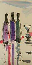 JOSE TRUJILLO ORIGINAL Watercolor Painting SIGNED Small 3x6 Wine Bar Kitchen Art