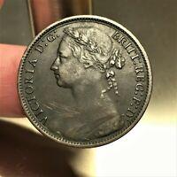 1878 Great Britain Penny, Queen Victoria, KM# 755, Extra Fine