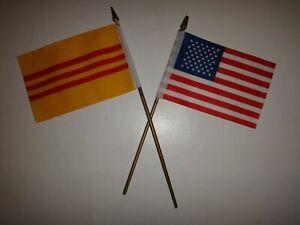 VIETNAM War Republic Of VIETNAM ARVN & USA Joint Small Size Flags