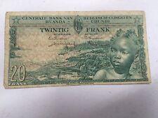 CONGO BELGE RUANDA URUNDI BILLET DE 20 FRANCS - OLD BANK NOTE