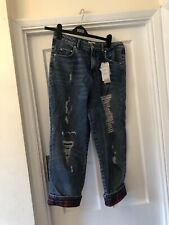 """New Gigi Hadid Tommy Hilfiger Blue & Tartan Designer 5 Pocket Turn Up Jeans,31"""""""