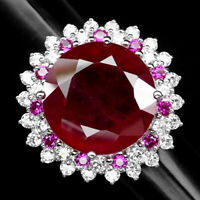 PIGEON BLOOD RED RUBY 28.50 CT.SAPPHIRE 925 STERLING SILVER JEWELRY RING SZ 6.25