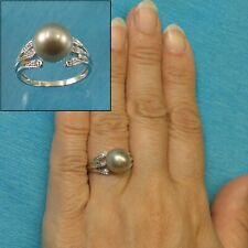 14k White Gold 10mm Natural Silver-Gray Genuine Tahitian Pearl Cocktail Ring TPJ