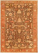 Antique Heriz Brown Handwoven Wool Rug BB4542