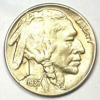 1937-D 3 Legs Buffalo Nickel 5C Coin (Three Legged) - Choice AU / UNC Details