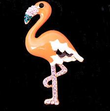 Flamingo Vogel Brosche / Anhänger mit Emaille und Strass, goldfarben