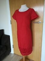 Ladies Dress Size 12 PER UNA Red Linen Shift Smart Casual Day Party