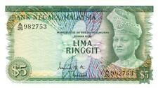 Malaysia 5 Ringgit Currency Banknote 1967 CU
