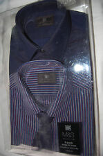 M&S  2 Pack Shirts and Tie Plum Mix Regular Fit Long Sleeved Size 14.5 BNIP