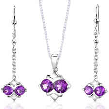 3.25 CT Round Purple Amethyst Sterling Silver Earring Pendant Set