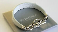 John Hardy - Bamboo Collection Sterling Silver & White Leather Bracelet - Mint!