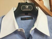 Tommy Hilfiger The Lifetime Collar Blue & White Dress Shirt Men's 15 32-33 L