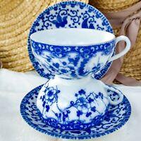 2 Vintage Occupied Japan Cherry Blossom Phoenix Tea Cup & Saucer Sets Blue White