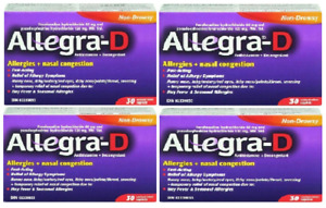 Allegra D 12 Hour 60mg Allergy Relief 4  BOXES x 30 Caplets Canadian