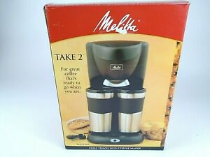 Melitta Take 2 DUAL Stainless Steel Travel Mug Coffee Maker With 2 Mugs