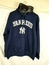NEW YORK YANKEES MLB MAJESTIC BIG BREAK HOODED SWEATSHIRT Blue XL