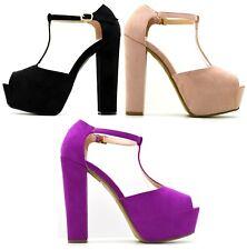 Scarpe donna sandali spuntati con tacco alto e plateau con fibbia scamosciati
