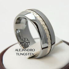 Tungsten Ring Wedding Anniversary Band 8MM Sterling Silver Inlay Size 10
