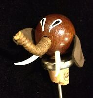 Vintage 1960s Danish Modern Teak Wood Elephant Bottle Stopper Cork Denmark #X5