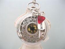 """NUOVO """"Alice nel paese delle meraviglie"""" GRANDE tono argento Drink Me orologio da taschino collana catena"""