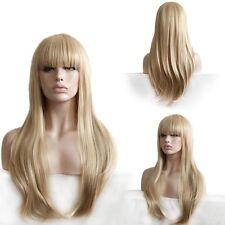 Custom Natural Light Blonde Full Straight Bangs Highlights Layer Wavy Womens Wig